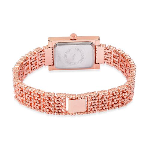 Designer Inspired- Diamond Studded GENOA Japanese Movement Bracelet Watch in Rose Gold Tone