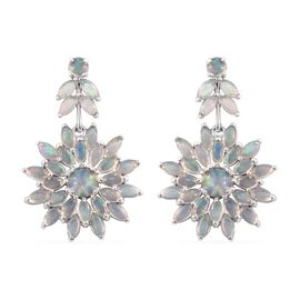 Limited Edition - Ethiopian Welo Opal (Rnd) Floral Earrings (with Push Back) in Platinum Overlay Sterling Silver 6.500 Ct.
