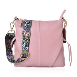 100% Genuine Leather Pink Colour Crossbody Bag with Butterfly Pattern Removable Shoulder Strap (Size 25x23x8)