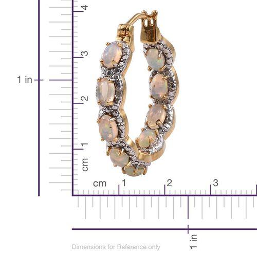 Ethiopian Welo Opal (Ovl), Diamond Hoop Earrings (with Clasp) in 14K Gold Overlay Sterling Silver 2.780 Ct.
