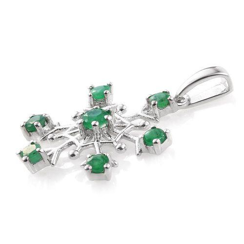 Kagem Zambian Emerald (Rnd) Snowflake Pendant in Platinum Overlay Sterling Silver 1.000 Ct.