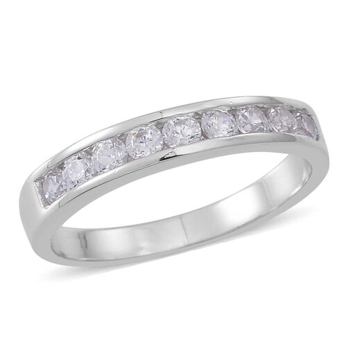 ELANZA AAA Simulated Diamond (Rnd) Half Eternity Band Ring in Rhodium Plated Sterling Silver