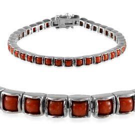 Natural Mediterranean Coral (Sqr) Bracelet in Platinum Overlay Sterling Silver (Size 7) 5.000 Ct.
