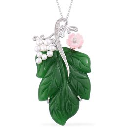 Limited Edition - Rare Hand Carved Green Jade, Pink Mother of Pearl, Fresh Water Pearl and White Zircon Leaf Pendant With Chain in Rhodium Plated Sterling Silver 77.550 Ct.