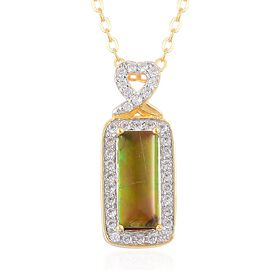 AA Canadian Ammolite (Bgt 1.25 Ct), Natural White Cambodian Zircon Pendant With Chain in Yellow Gold Overlay Sterling Silver 1.500 Ct.