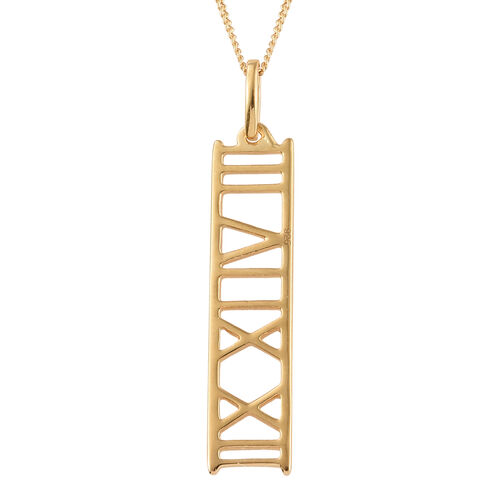 14K Gold Overlay Sterling Silver Roman Number Inspired Pendant With Chain (Size 18)