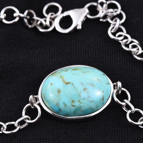 Arizona Matrix Turquoise (Ovl) Bracelet (Size 7.5) in Platinum Overlay Sterling Silver 9.250 Ct.