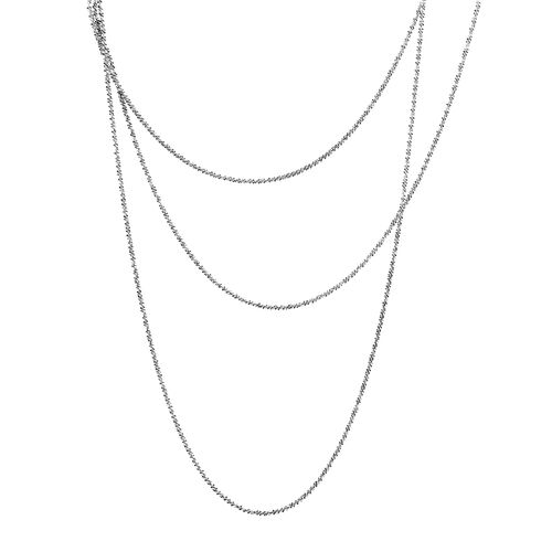JCK Vegas Collection Rhodium Plated Margarita Sterling Silver Necklace (Size 60), Silver wt 12.71 Gms.