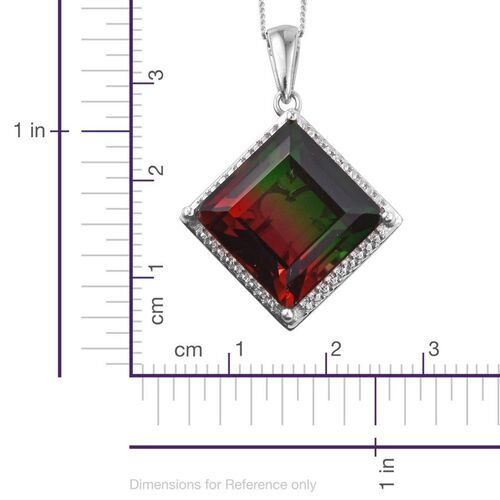 Tourmaline Colour Quartz (Sqr) Pendant With Chain in Platinum Overlay Sterling Silver 15.000 Ct.
