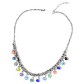 Limited Edition - Genuine Italian Murano Glass Beads Byzantine Necklace (Size 18 with 2 inch Extender) in Silver Tone