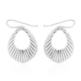 Designer Inspired- High Polish Sterling Silver Drop Hook Earrings, Silver wt 4.15 Gms.