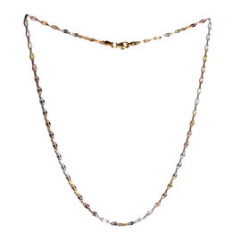 JCK Vegas Collection Tricolour Sterling Silver Diamond Cut Forzatina Chain (Size 18), Silver wt 3.50 Gms.