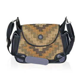 Black Colour Handbag Made with Cotton and Kilim Rugs with an Internal Mobile Pocket and Adjustable and Removable Shoulder Strap (Size 30x27x11.5 Cm)