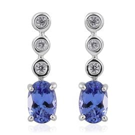 9K White Gold 0.99 Carat AA Tanzanite, Natural Cambodian Zircon Earrings (with Push Back)