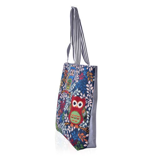 Set of 2 - Multi Colour Owls and Leaves Pattern Large Handbag (Size 43x39x10.5 Cm) and London Girls Pattern Beige Colour Small Handbag with External Zipper Pocket (Size 43x33x11.5 Cm)