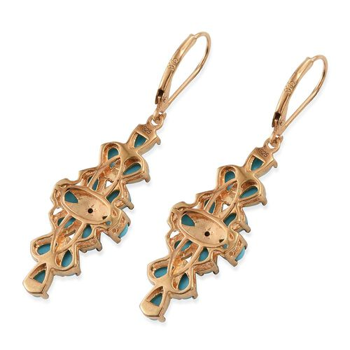 Arizona Sleeping Beauty Turquoise (Pear), Diamond Lever Back Earrings in 14K Gold Overlay Sterling Silver 4.530 Ct.