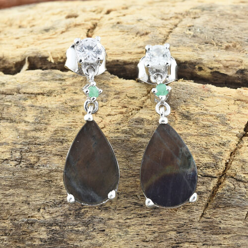 Spectrolite (Pear), Natural Cambodian Zircon and Kagem Zambian Emerald Earrings (with Push Back) in Platinum Overlay Sterling Silver 4.500 Ct.