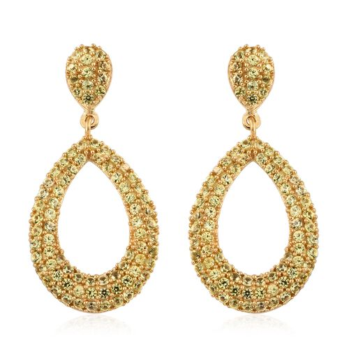 Chanthaburi Yellow Sapphire (Rnd) Drop Earrings (with Push Back) in 14K Gold Overlay Sterling Silver 3.500 Ct. Silver wt 5.71 Gms. Number of Gemstone 166