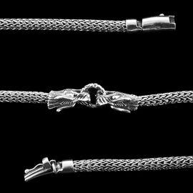 Royal Bali Collection - Hand Made Sterling Silver Dragon Head Tulang Naga Necklace (Size 20), Silver wt 90.00 Gms.