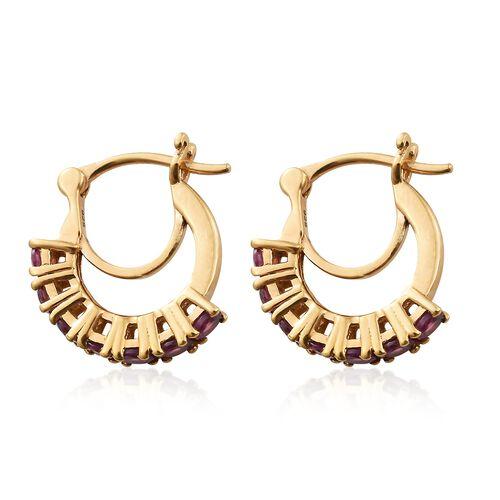 2 Carat Rhodolite Garnet Hoop Earrings in Gold Plated Silver