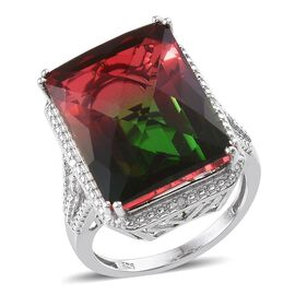Tourmaline Colour Quartz (Oct 21.98 Ct), Diamond Ring in Platinum Overlay Sterling Silver 22.030 Ct.