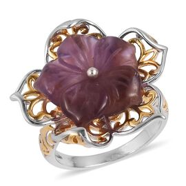 Very Limited Available- Hand Carved Amethyst Flower Ring in Rhodium and Gold Overlay Sterling Silver 6.750 Ct.