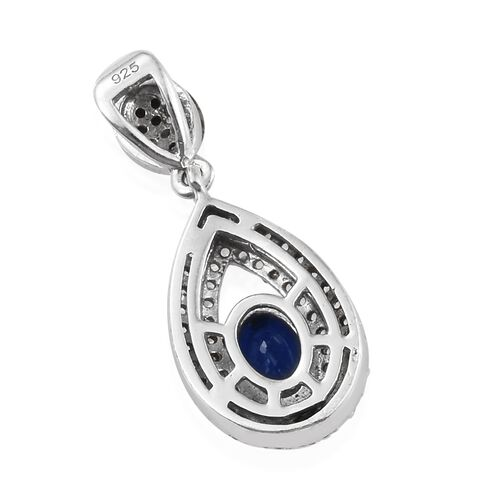 Very Rare Blue Spinel (Ovl), Natural White Cambodian Zircon Drop Pendant in Platinum Overlay Sterling Silver 1.250 Ct.