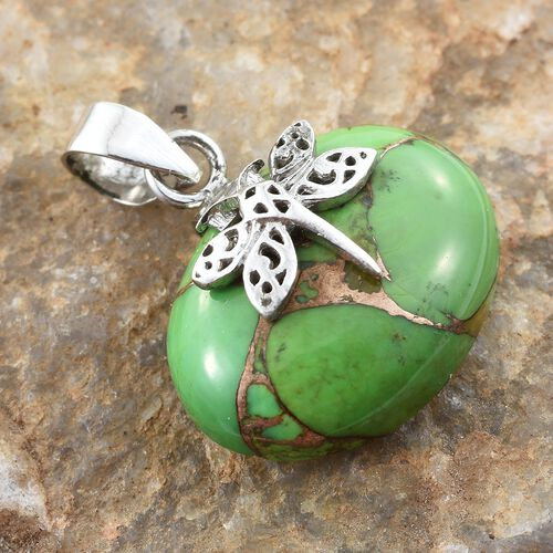 One Time Deal- Extremely Rare Size Green Copper Turquoise (Ovl 25x18 mm) Dragonfly Pendant in Sterling Silver 15.820 Ct.