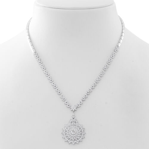 ELANZA AAA Simulated White Dimaond (Rnd and Bgt) Floral Necklace (Size 17.5) in Rhodium Plated Sterling Silver. Silver wt. 22.64 Gms.