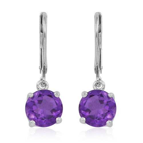 Amethyst (Rnd) Lever Back Earrings in Rhodium Plated Sterling Silver 3.500 Ct.