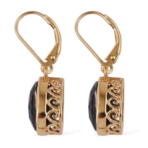 Ceylon Colour Quartz (Pear) Lever Back Earrings in 14K Gold Overlay Sterling Silver 7.000 Ct.