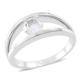 White Topaz (Rnd) Solitaire Ring in Rhodium Plated Sterling Silver 1.250 Ct.