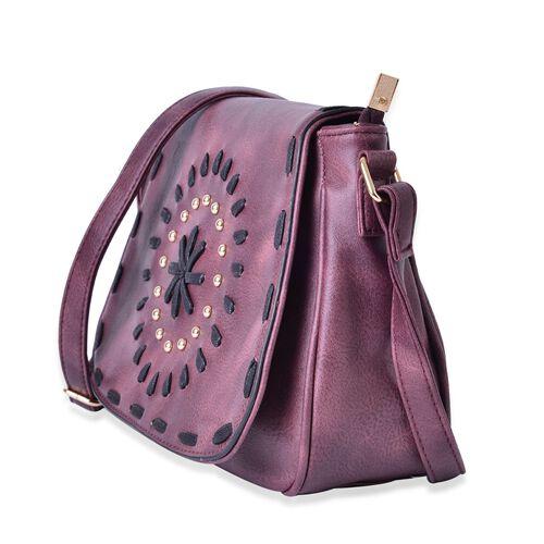 Dark Purple Colour Medium Size Crossbody Saddle Bag With Adjustable Shoulder Strap (Size 25x19x8 Cm)