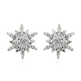 Starburst Diamond (Rnd) Stud Earrings (with Push Back) in 14K Gold Overlay Sterling Silver