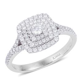 ILIANA 18K White Gold IGI Certified 0.75 Ct Diamond (SI/G-H) Engagement Ring