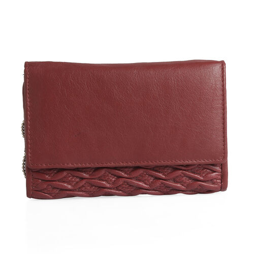 100% Genuine Leather RFID Blocker Red Colour Wallet with Multiple Card Slots (Size 15.25X10.15X2.5 Cm)