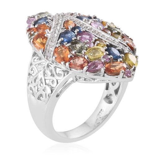 Orange Sapphire (Ovl), Green Sapphire, Yellow Sapphire, Kanchanaburi Blue Sapphire, Pink Sapphire and Multi Gemstone Ring in Platinum Overlay Sterling Silver 6.250 Ct.