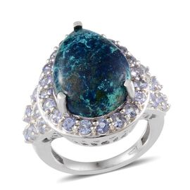 Table Mountain Shadowkite (Pear 10.25 Ct), Tanzanite Ring in Platinum Overlay Sterling Silver 12.000 Ct.