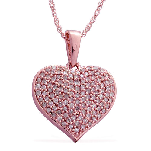 Designer Inspired 9K Rose Gold Natural Pink Diamond (Rnd) Heart Pendant With Chain 0.500 Ct. Number of Diamonds 118