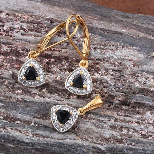 Boi Ploi Black Spinel (Trl), Diamond Pendant and Lever Back Earrings in 14K Gold Overlay Sterling Silver 0.500 Ct.