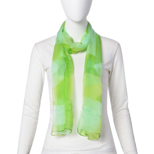 100% Mulberry Silk Green, Yellow and Light Blue Colour Block Pattern Scarf (Size 170x50 Cm)