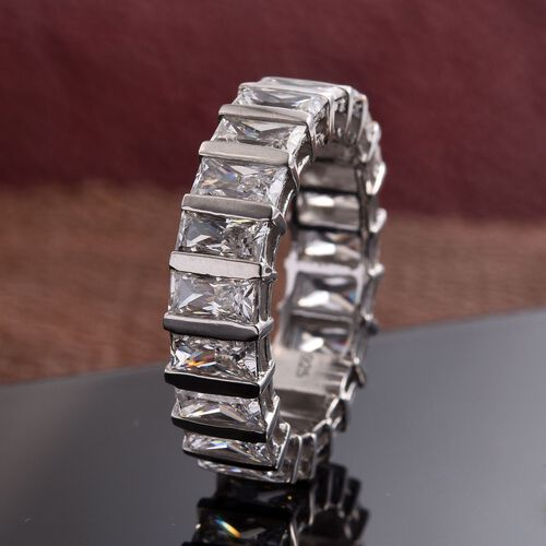 J Francis - Platinum Overlay Sterling Silver (Bgt) Full Eternity Ring Made with SWAROVSKI ZIRCONIA