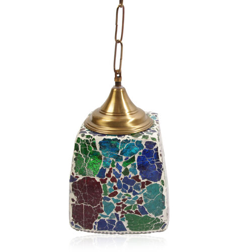 Home Decor - Multicolour Mosaic Glass Hanging Lamp with Iron Fixture and Electric Fitting