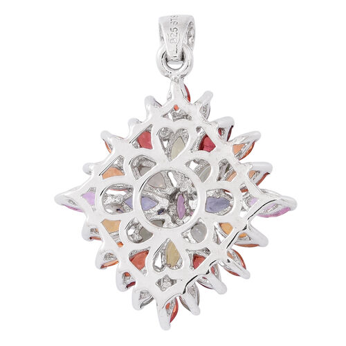 Rainbow Sapphire (Mrq) Pendant in Rhodium Plated Sterling Silver 4.000 Ct.