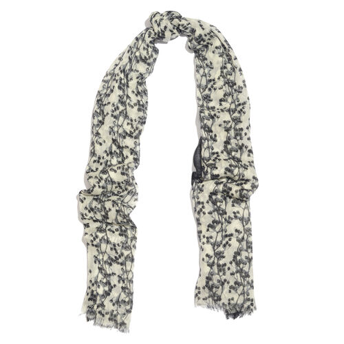 100% Merino Wool Black and Off White Colour Printed Scarf with Fringes (SIze 170X70 Cm)