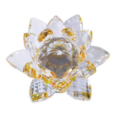 Fantasy Collection - Hand Crafted AAA Champagne Austrian Crystal and Faceted Glass Rotating Base Lotus  With a Gift Box.