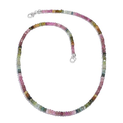 Rainbow Tourmaline (Rnd) Necklace (Size 18) in Platinum Overlay Sterling Silver 45.650 Ct.