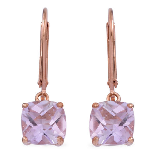 Checkerboard Cut Rose De France Amethyst (Cush) Lever Back Earrings in Rose Gold Overlay Sterling Silver 4.000 Ct.