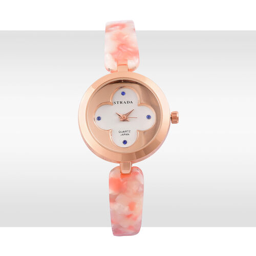 STRADA Japanese Movement Blue Austrian Crystal Studded White Dial Watch in Rose Gold Tone with Stainless Steel Back and Pink Colour Strap