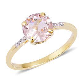 9K Yellow Gold 1.73 Ct. Marropino Morganite Ring with Diamond
